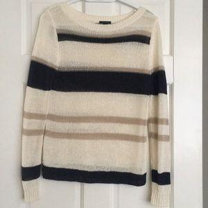 Ann Taylor Striped Open Stitching Sweater Sz XS